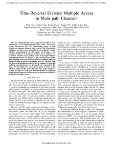 Time-Reversal Division Multiple Access in Multi-Path Channels