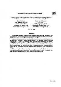 Time-Space Tradeoffs for Nondeterministic ... - Semantic Scholar