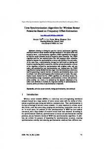 Time Synchronization Algorithm for Wireless ... - Online-Journals.org