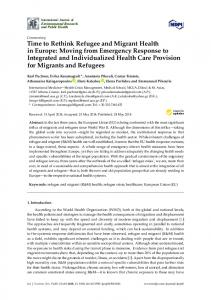 Time to Rethink Refugee and Migrant Health in Europe - MDPI