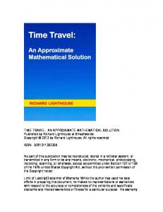 TIME TRAVEL: AN APPROXIMATE MATHEMATICAL SOLUTION ...