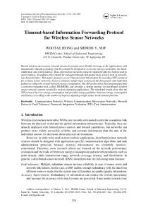 Timeout-based Information Forwarding Protocol for Wireless Sensor ...