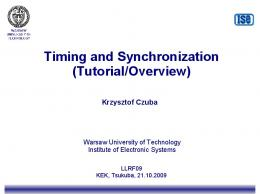 Timing and Synchronization (Tutorial/Overview)