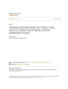 TIMING OF EXPOSURE TO TOXIC TALL FESCUE: EFFECTS ON BEEF ...