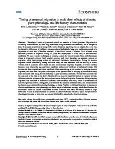 Timing of seasonal migration in mule deer - Wyoming Cooperative ...