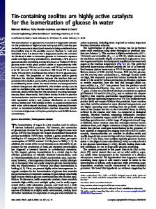 Tin-containing zeolites are highly active catalysts ... - Semantic Scholar