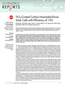 TiO2-Coated Carbon Nanotube-Silicon Solar Cells ... - Semantic Scholar