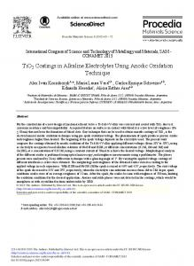 TiO2 Coatings in Alkaline Electrolytes Using Anodic Oxidation ... - Core