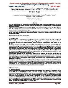 TiO2 synthesis by Sol-Gel - International Journal of Application or
