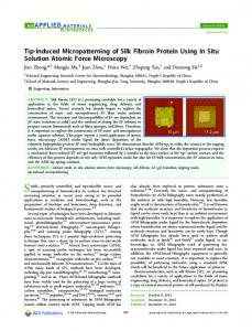 Tip-Induced Micropatterning of Silk Fibroin Protein Using In Situ ...