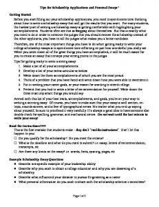 Tips for Scholarship Applications and Personal Essays* Getting ...