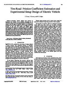 Tire-Road Friction Coefficient Estimation and Experimental Setup ...