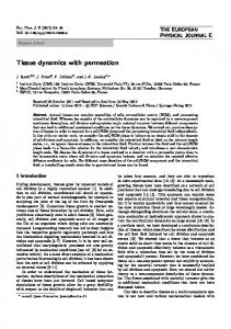 Tissue dynamics with permeation - CiteSeerX