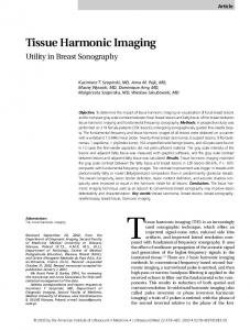 Tissue Harmonic Imaging - Wiley Online Library
