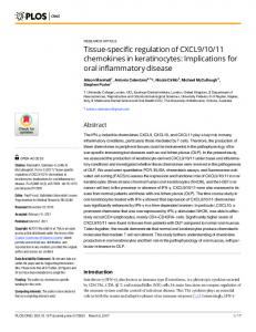 Tissue-specific regulation of CXCL9/10/11 chemokines in ... - PLOS
