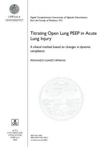 Titrating Open Lung PEEP in Acute Lung Injury - DiVA
