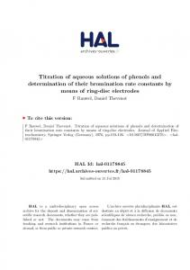 Titration of aqueous solutions of phenols and