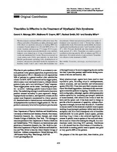 Tizanidine Is Effective in the Treatment of Myofascial Pain Syndrome