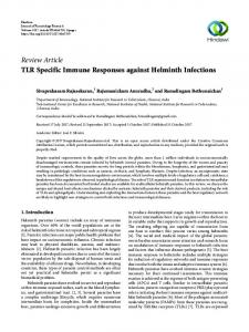 TLR Specific Immune Responses against Helminth Infections