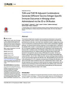 TLR4 and TLR7/8 Adjuvant Combinations Generate Different ... - PLOS