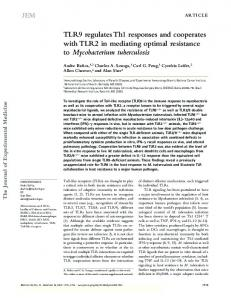 TLR9 regulates Th1 responses and cooperates with TLR2 ... - CiteSeerX