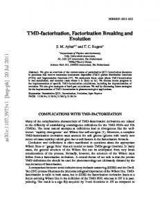 TMD-factorization, Factorization Breaking and Evolution