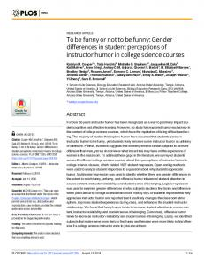 To be funny or not to be funny: Gender differences in student ... - PLOS
