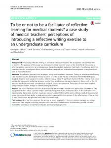 To be or not to be a facilitator of reflective learning for medical students ...