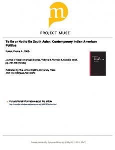 To Be or Not to Be South Asian: Contemporary Indian American ...