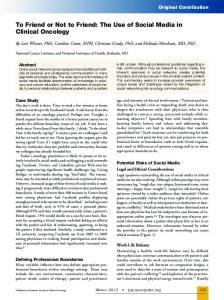 To Friend or Not to Friend: The Use of Social Media ... - ASCO Journals