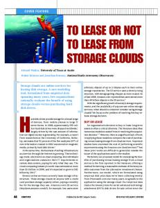 to lease or not to lease from storage clouds - IEEE Xplore