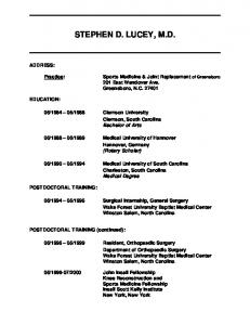to see Dr. Lucey's Curriculum Vitae - Dr. Stephen Lucey