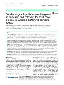 To what degree is palliative care integrated in ... - Semantic Scholar