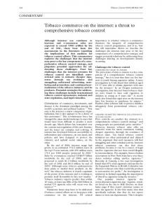Tobacco commerce on the internet: a threat to ... - Tobacco Control