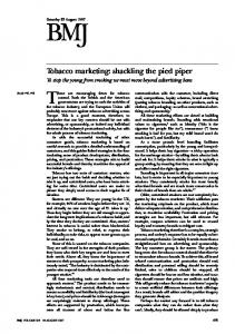 Tobacco marketing: shackling the pied piper.