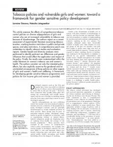 Tobacco policies and vulnerable girls and women: toward ... - CiteSeerX