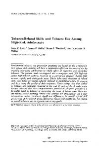 Tobacco-refusal skills and tobacco use among high ... - Springer Link