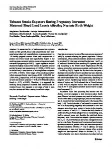 Tobacco Smoke Exposure During Pregnancy ... - Springer Link