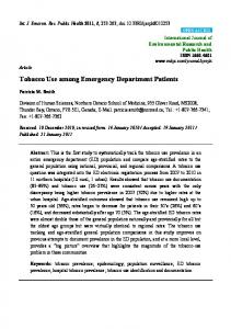 Tobacco Use among Emergency Department Patients - MDPI