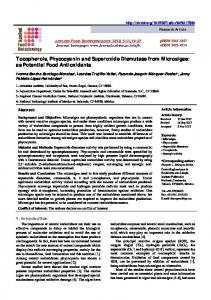 Tocopherols, Phycocyanin and Superoxide