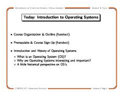 Today: Introduction to Operating Systems