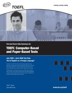TOEFL® Computer-Based and Paper-Based Tests - ETS