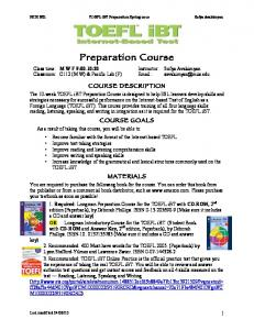 TOEFL iBT Preparation Syllabus SpB10