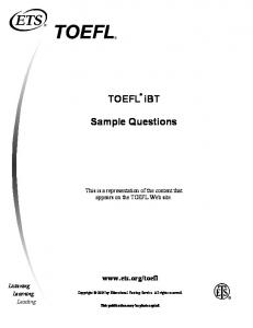 TOEFL iBT Sample Questions - ETS Global