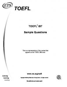 TOEFL iBT Sample Questions - INTERNATIONAL LANGUAGE ...
