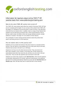 TOEFL Information for Teachers - Oxford Online Placement Test