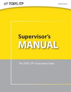TOEFL ITP Supervisor's Manual