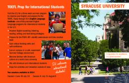 TOEFL Prep for International Students - Summer @ Syracuse ...