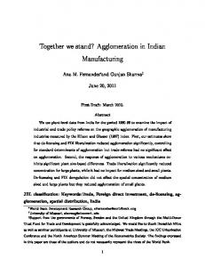Together we stand? Agglomeration in Indian ... - World Bank Group