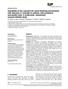 Tolerability of the capsaicin 8% patch following ... - Wiley Online Library